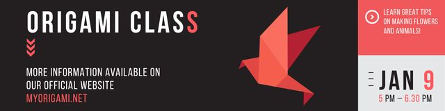 Plantilla de diseño de Origami class Invitation with Paper Bird Twitter
