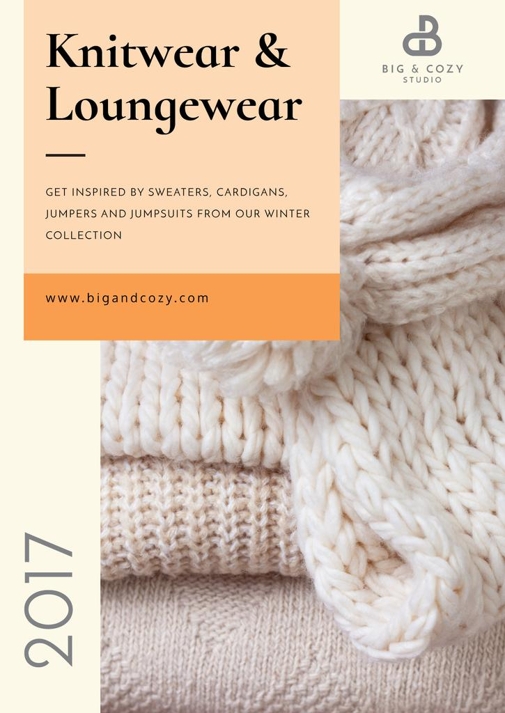 Knitwear Ad with Cozy Textile Pieces for Poster — Create a Design