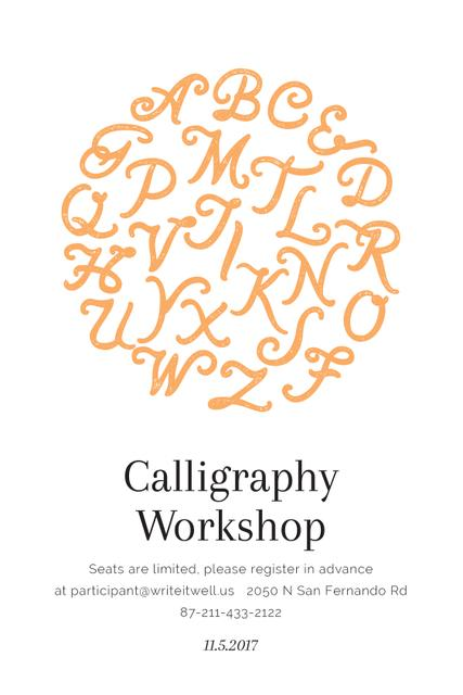 Calligraphy workshop poster Tumblrデザインテンプレート