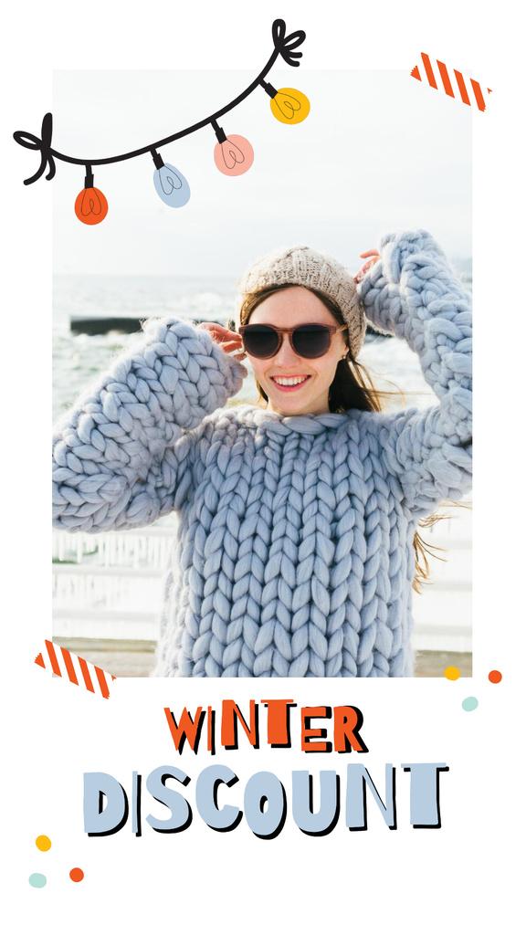 Winter Sale Girl in Chunky Sweater — Создать дизайн