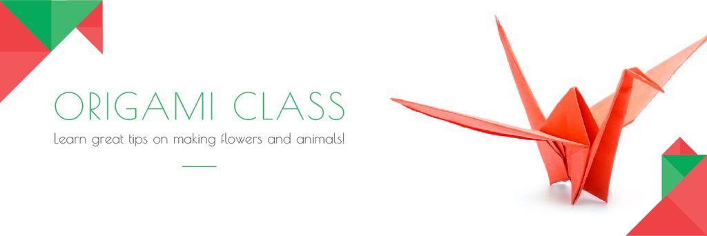Origami class Invitation with Red Paper Bird — Modelo de projeto