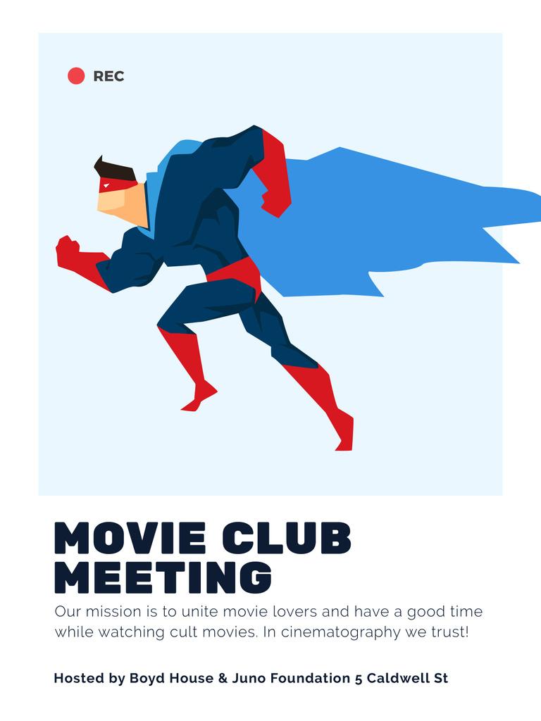 Movie Club Meeting Man in Superhero Costume Poster US Design Template