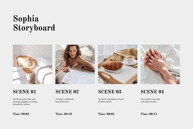 Template di design Couple having Breakfast in bed Storyboard