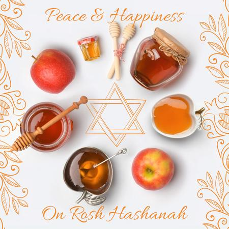 Rosh Hashanah apples with honey and Star of David Animated Post Tasarım Şablonu