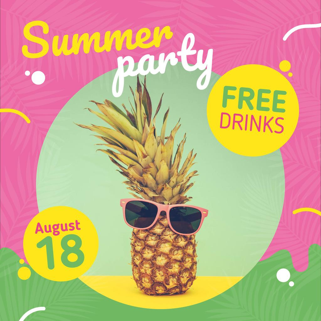 Summer Party Invitation Pineapple in Sunglasses | Instagram Post Template — Créer un visuel