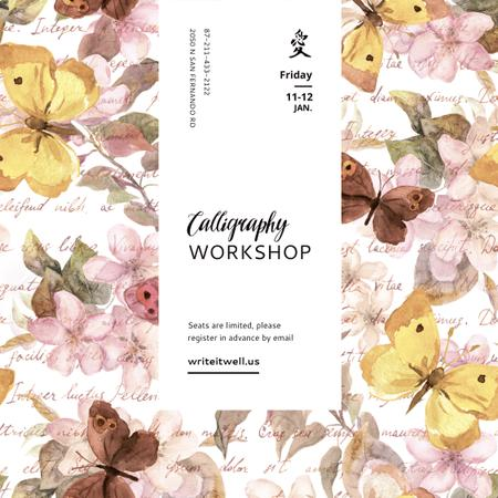 Calligraphy Workshop Ad on Butterflies pattern Instagram Tasarım Şablonu