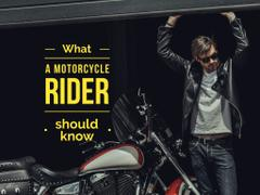 Young man in leather jacket near motorcycle