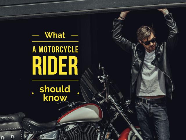 Plantilla de diseño de Young man in leather jacket near motorcycle Presentation
