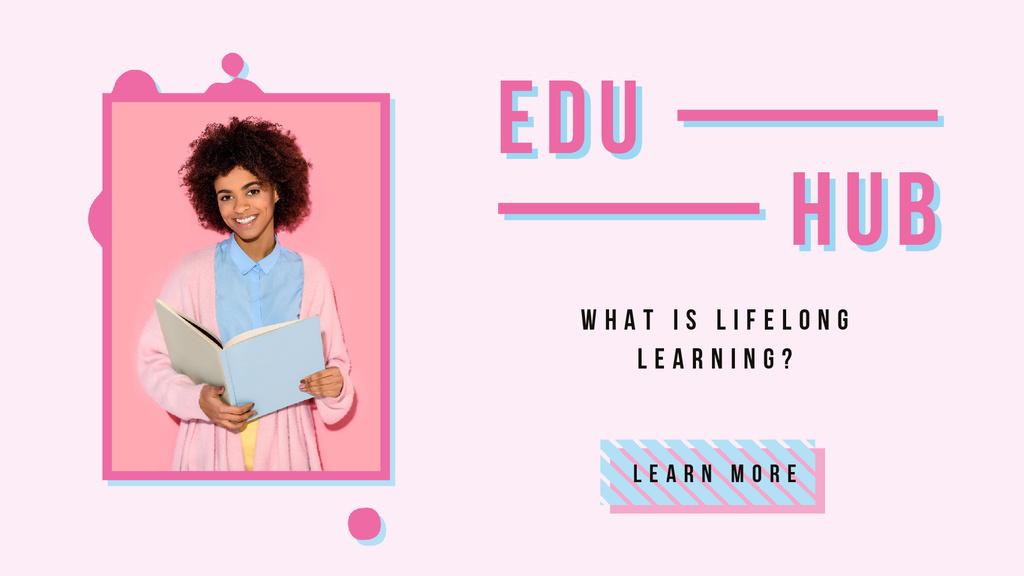 Education Courses Woman Holding Book — Crear un diseño