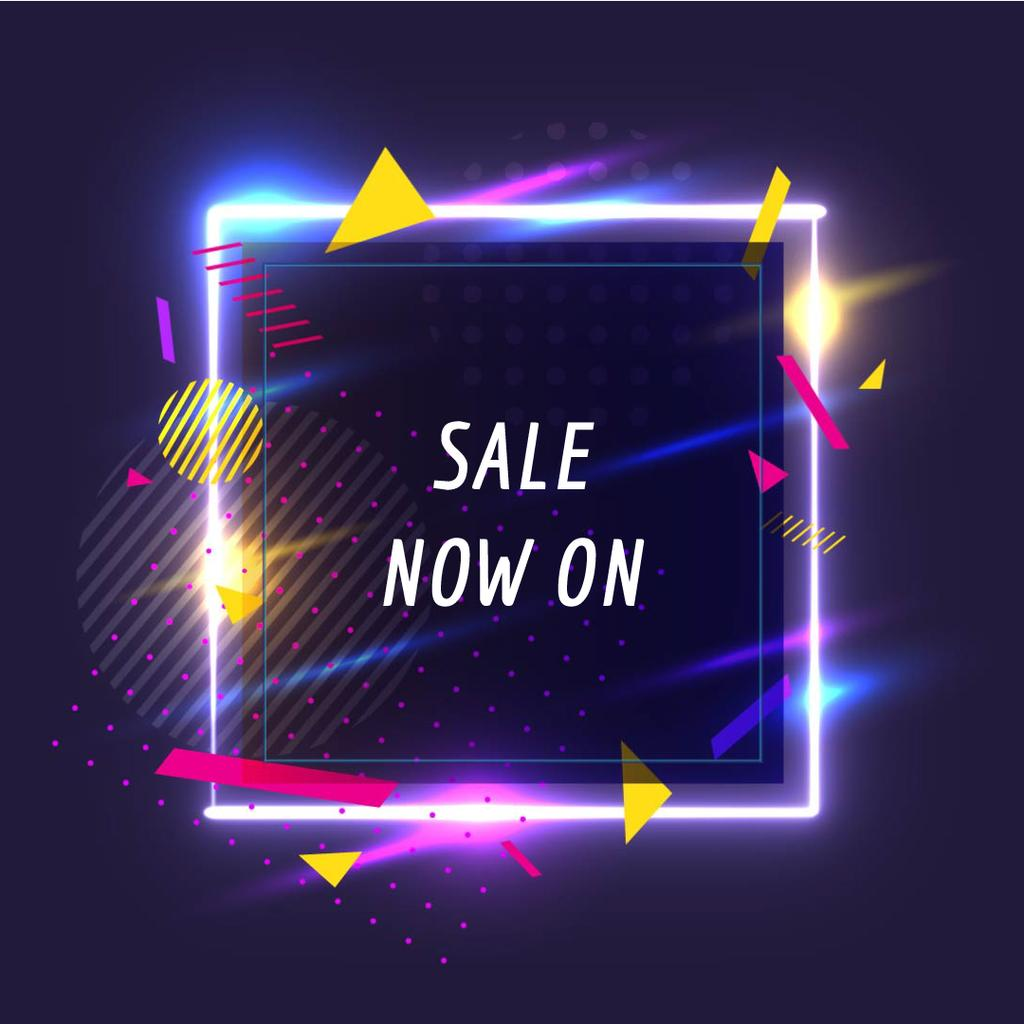 Sale Offer on Flickering neon square  — Crea un design