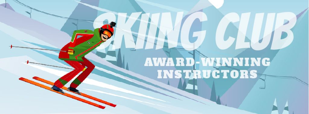 Skier Riding on a Snowy Slope Facebook Video Cover — Create a Design