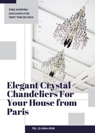 Plantilla de diseño de Elegant crystal Chandeliers offer Invitation