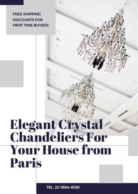 Plantilla de diseño de Elegant crystal Chandeliers offer Invitation
