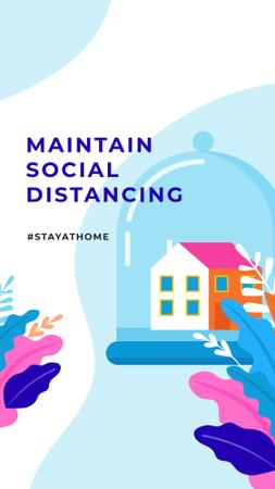 Template di design #StayAtHome Social Distancing concept with Home under Dome Instagram Story