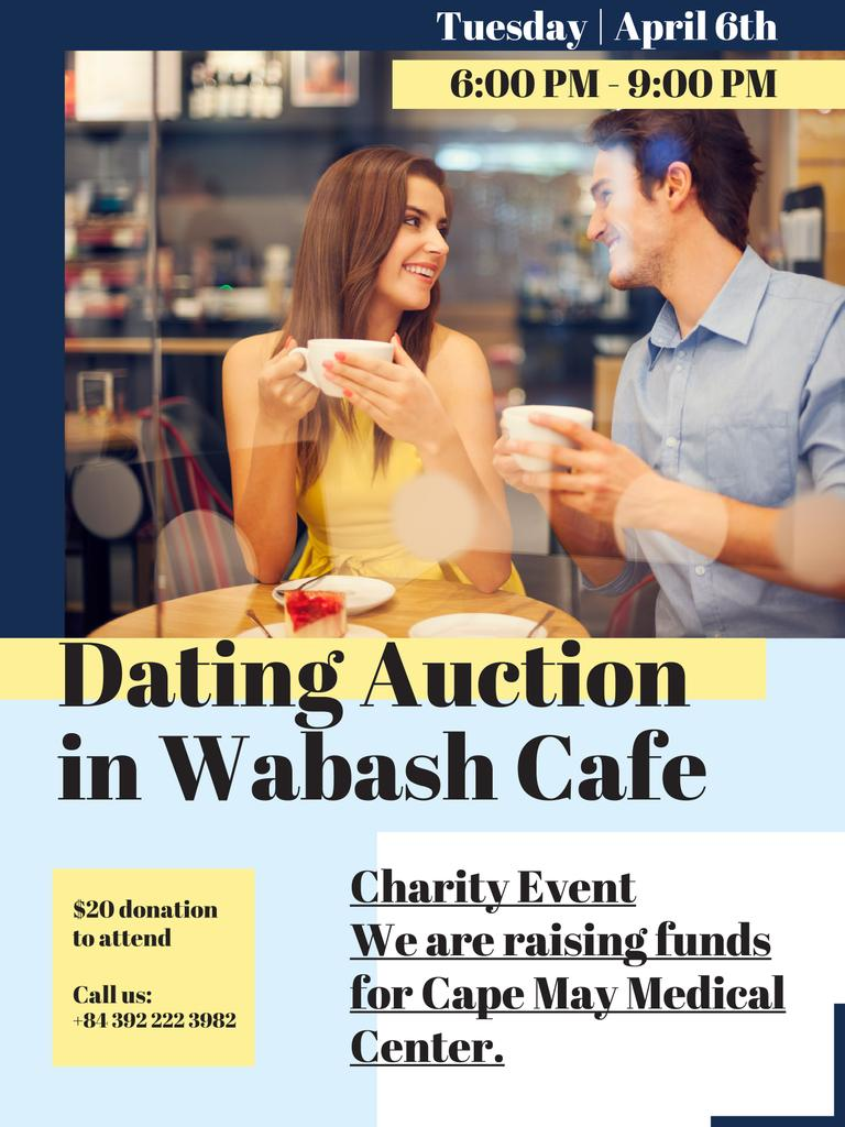 Dating Auction in Couple with coffee in Cafe Poster US Design Template