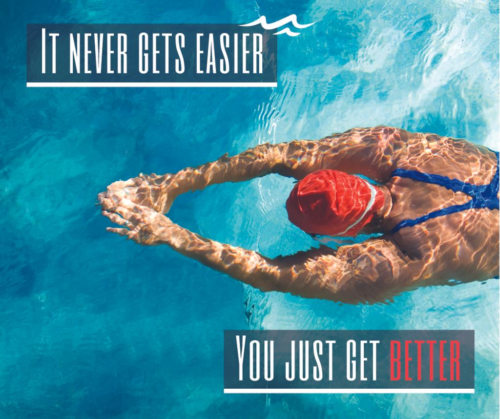 Inspirational Quote with Swimmer in Pool Facebook Modelo de Design