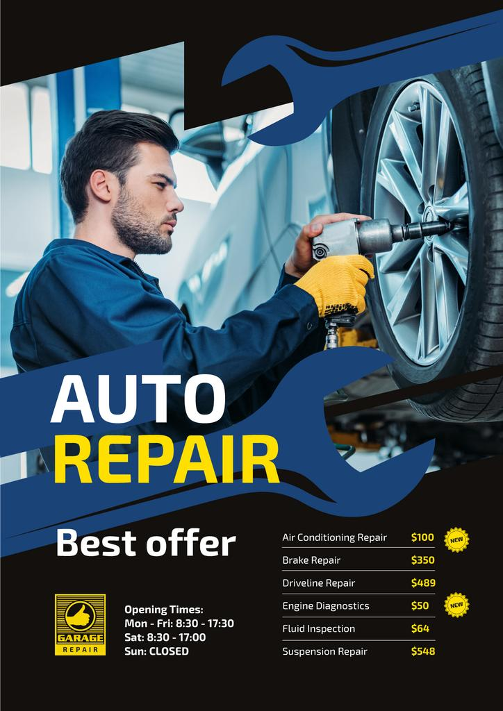 Auto Repair Service Ad Mechanic at Work | Poster Template — Crea un design