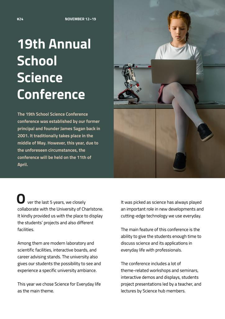 Annual School Science Conference Newsletter Design Template