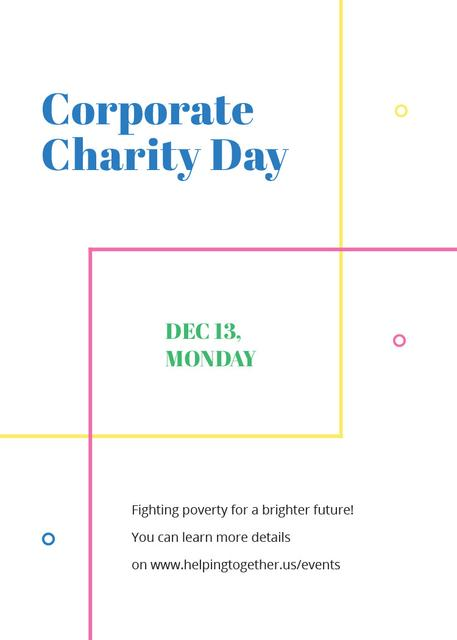 Ontwerpsjabloon van Flayer van Corporate Charity Day on simple lines
