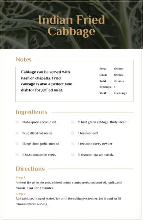 Plantilla de diseño de Indian Fried Cabbage Recipe Card