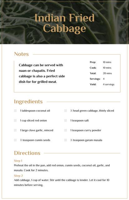 Template di design Indian Fried Cabbage Recipe Card