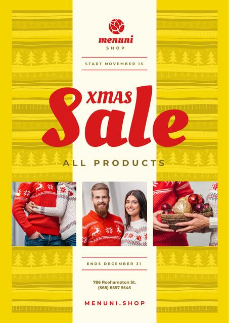 Xmas Sale with Couple with Presents Poster Modelo de Design