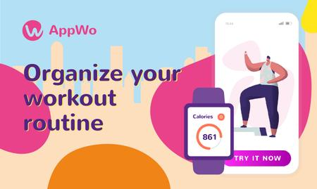 Ontwerpsjabloon van Gallery Image van Product Hunt Promotion Fitness App with Interface on Gadgets