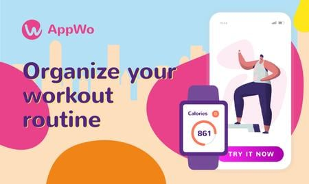 Plantilla de diseño de Product Hunt Promotion Fitness App with Interface on Gadgets Gallery Image