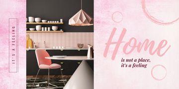 Cozy modern interior in pink tones