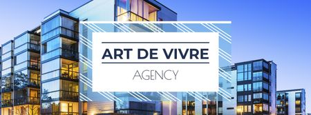 Plantilla de diseño de Real Estate Ad with Glass Building in Blue Facebook cover
