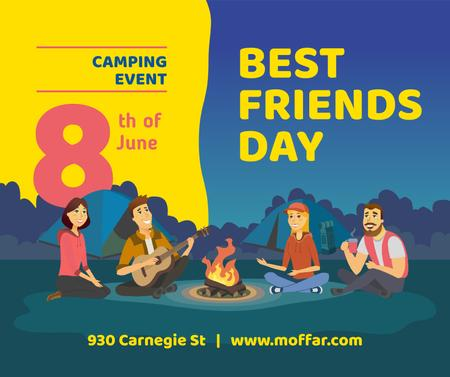 Best Friends Days People at picnic with guitar Facebook Design Template
