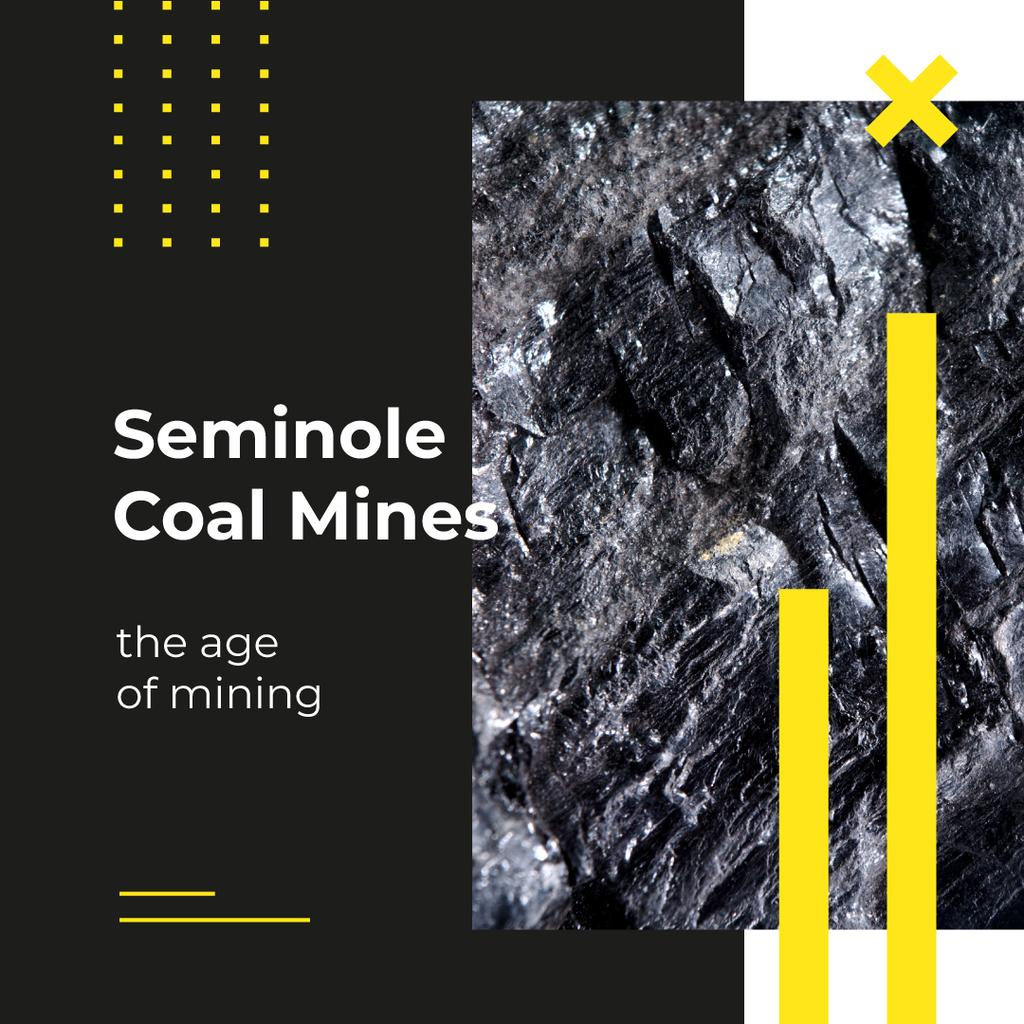 Mining Industry Black Coal Piece Instagram AD – шаблон для дизайну