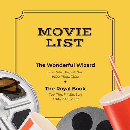 Template di design Movie Night Invitation with Popcorn Animated Post