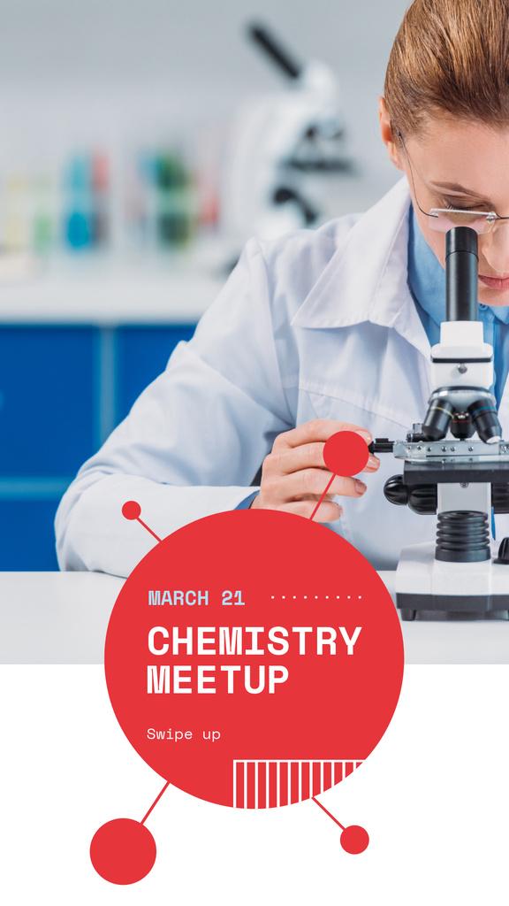 Science Event Announcement Woman with Microscope — Crea un design