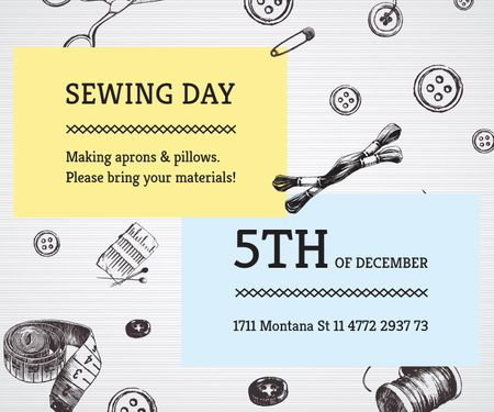 Template di design Sewing day event  Large Rectangle
