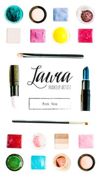 Flat Lay with Makeup Cosmetics Bright Colors | Vertical Video Template