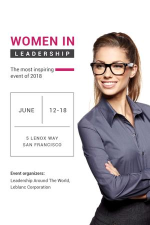Modèle de visuel Business Conference Announcement with Smiling Businesswoman - Pinterest