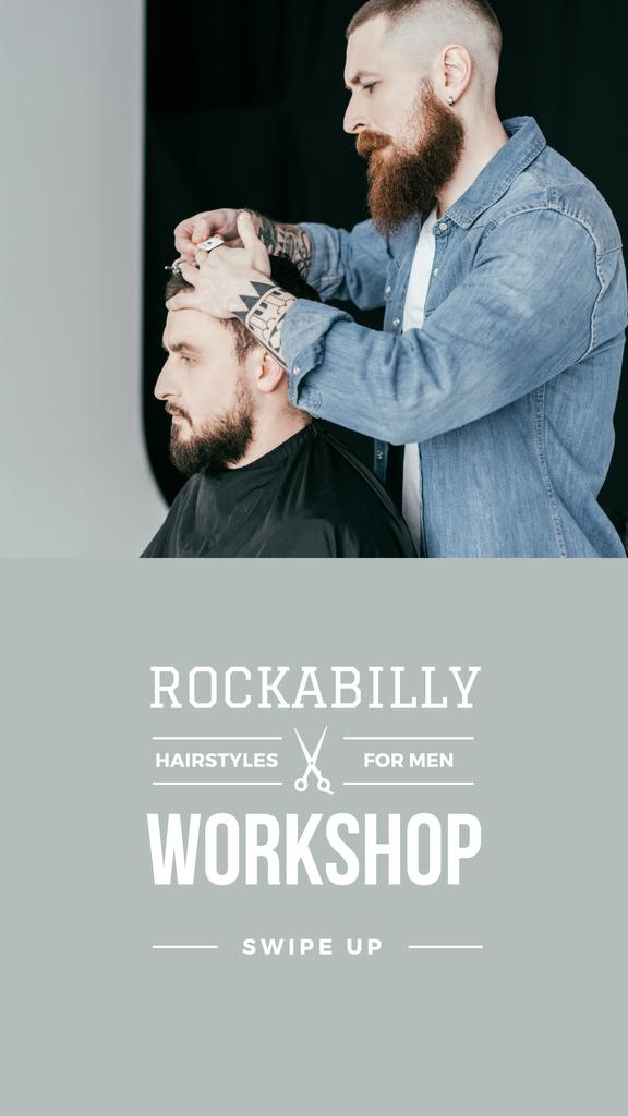 Hairstyles workshop ad with client at Barbershop — Modelo de projeto