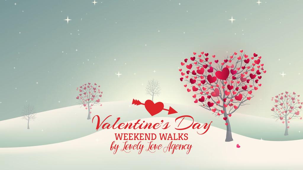 Valentine's Day Trees with red Hearts — ein Design erstellen