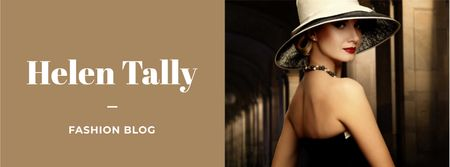 Fashion Blog Ad with Stylish Woman in Hat Facebook cover Modelo de Design