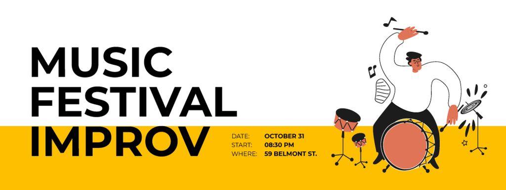 Music Festival with Passionate Drummer Ticket Šablona návrhu
