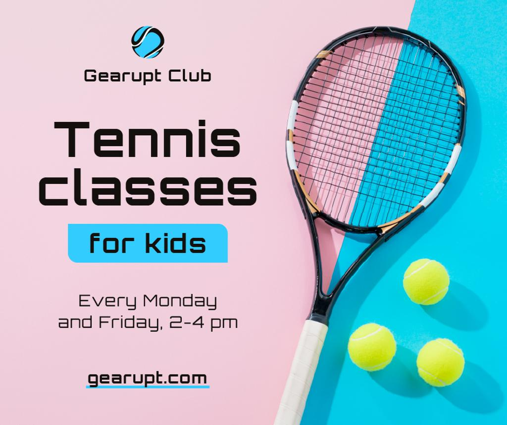 Sports Classes for Kids Tennis racket on court — Modelo de projeto