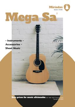 Musical Instruments Sale with Wooden Guitar