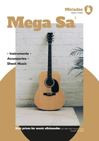 Modèle de visuel Musical Instruments Sale with Wooden Guitar - Poster