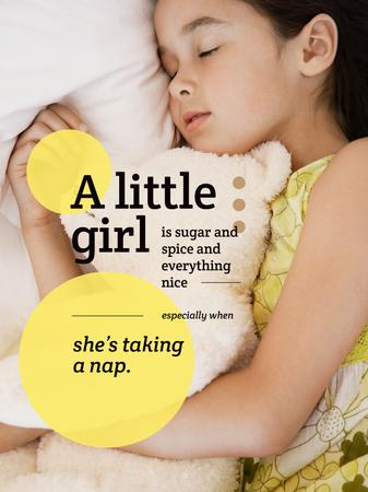 Cute little Girl sleeping Poster US – шаблон для дизайна