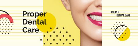Ontwerpsjabloon van Email header van Dental Care Tips with Female Smile with White Teeth