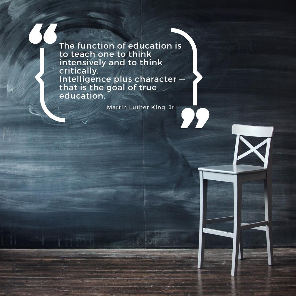 Chalkboard with empty chair and motivational quote — ein Design erstellen