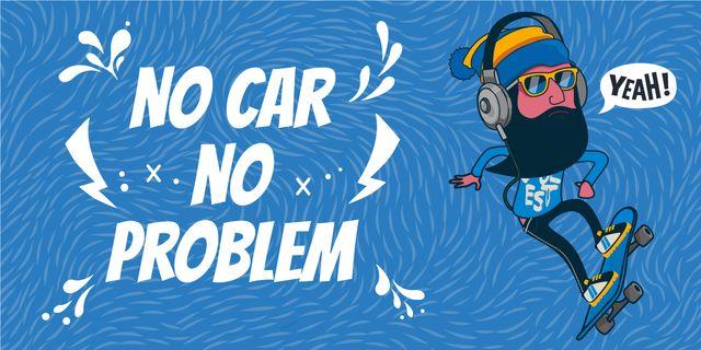 no car no problem illustration with skateboarder Image Modelo de Design