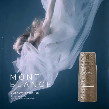 Designvorlage Perfume Ad with Magical Woman Underwater für Animated Post