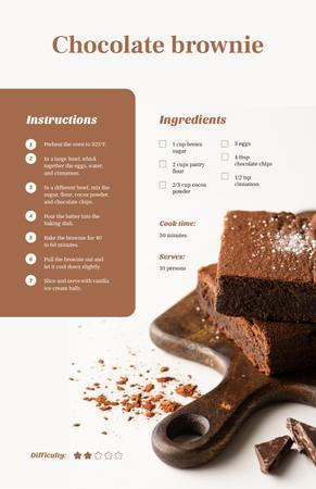 Pieces of Chocolate Brownie Recipe Card Modelo de Design